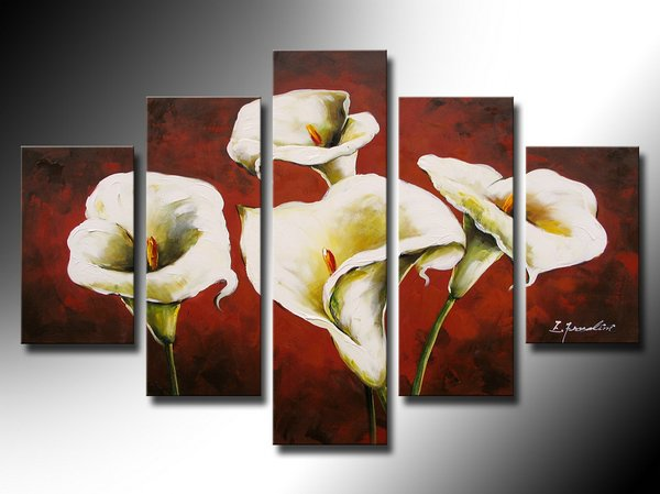 Beautiful 100% Handmade 5 Pices Simple Flower Painting for Bedroom Decoration