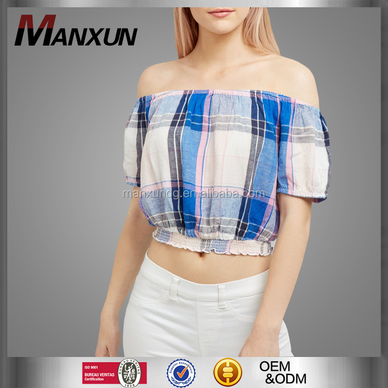 Summer Latest Fashion Ladies Off Shoulder Blouses Classical Grid Top Fitted Print Design