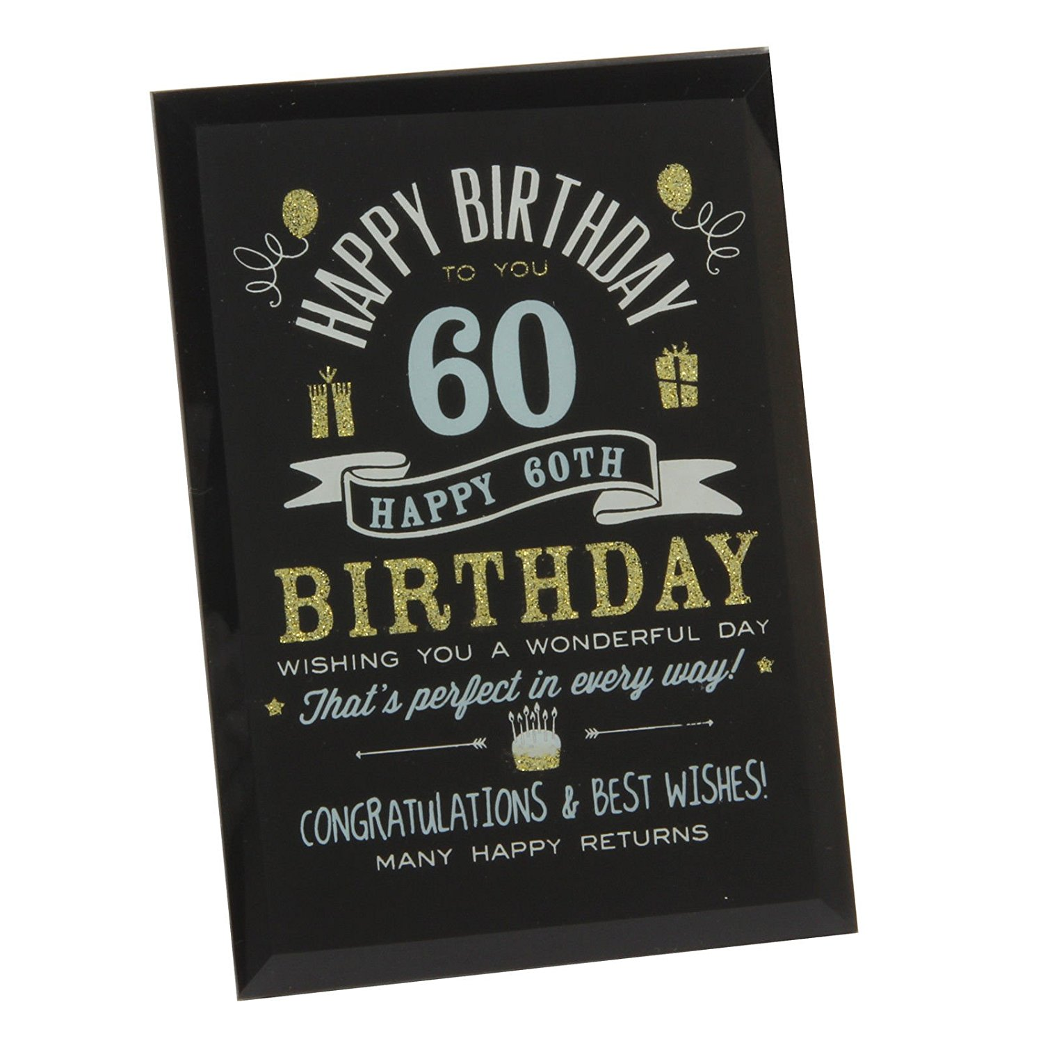 Get Quotations 60Th Birthday Gift Ideas Glass Plaque For Him Her Friends Grandparents