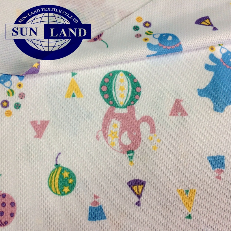 carton print baby bib use clothing 100 polyester coolmax wicking quick dry breathable knitted mesh fabric