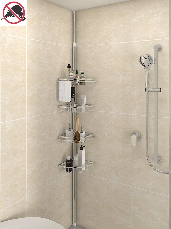 Lifewit Corner Shower Caddy 4 Tier Adjustable Bathroom Constant Tension Corner Pole Caddy Free Standing Shower Organizer for Shampoo,Soap,No Drilling (4-Tier)