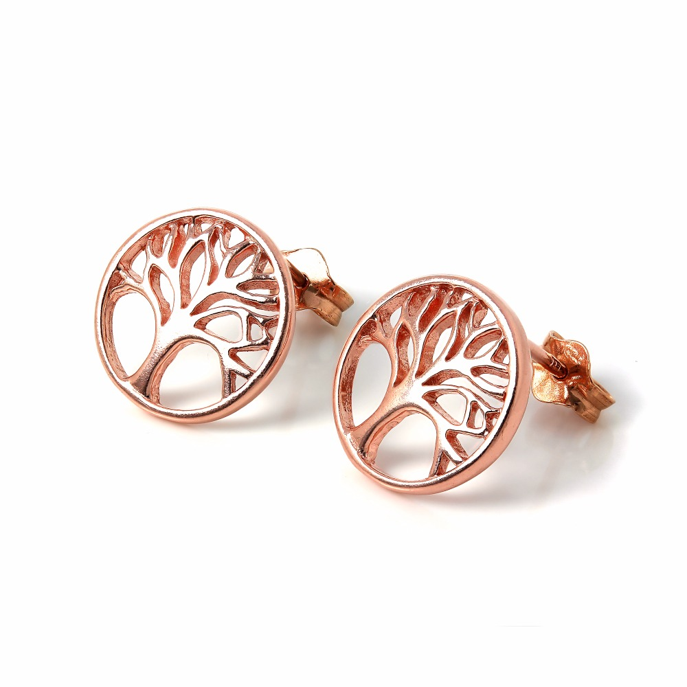 rose gold silver stud earrings tree studs factory sell