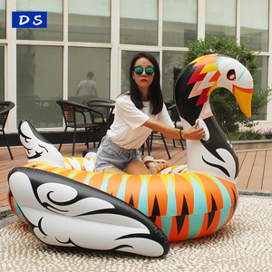 Custom colorful swimming inflatable boat PVC Colored Swan Rider Pool Floats