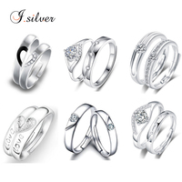 Wholesale 925 sterling silver italian couple ring with cz wedding jewelry R20003