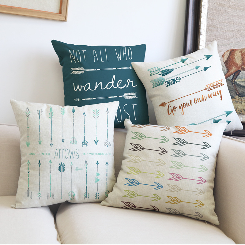 New Factory OEM Wholesale Boho Style Inspirational Quote Feather Arrow Magic Home Sofa Decorative Custom Cushion Cover