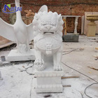 Hand carved life size Chinese style outdoor stone animal marble foo dog statue for sale NTKM-001Y