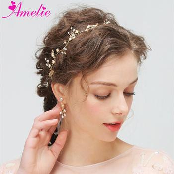 2018 New Fashion Headbands Freshwater Pearl Gold Leaf Decoration Bridal  Hair Vine and Earring Set Wedding 1fb759686dd