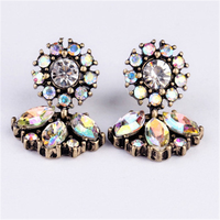 Good quality big crystal earring 2017 New statement fashion stud Earrings for women girl