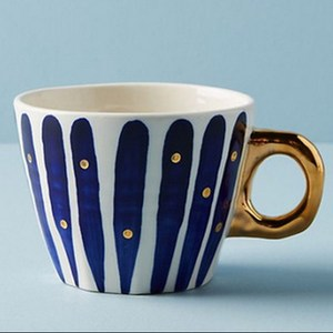 European style blue white stripe marble pattern ceramic mug with gilded handle