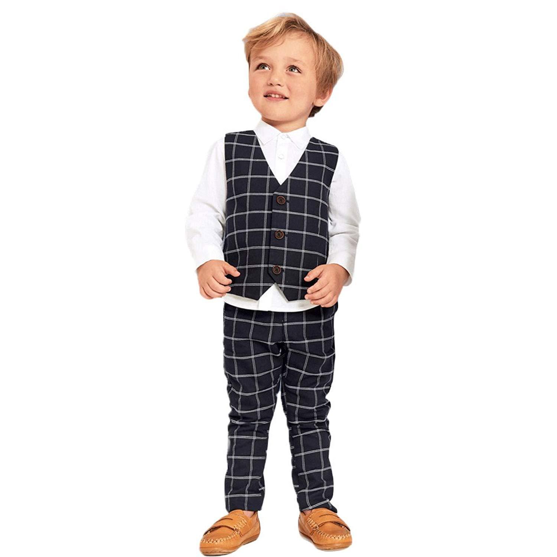 Moyikiss Studio Kids Boys Gentleman Outfits 3Pcs Cotton White Shirt+Vest+Pants Plaid Leisure Suit