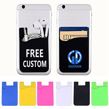 Cheap Cost Custom Logo Card Holder Pocket Sticky Phone Silicone ID Credit Card Holder