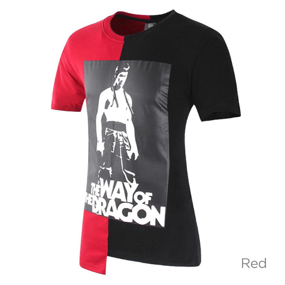 bruce lee tisk móda kontrastní barva patchování tričko pro muže ... 375a2da2ed