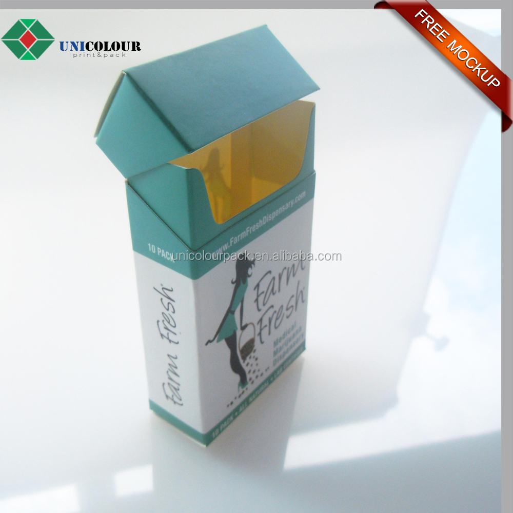 cardboard paper cigarette box with custom printing