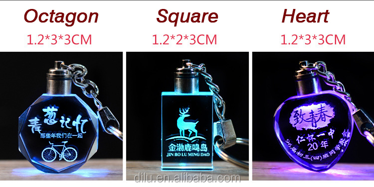Customized Logo Crystal Motion Sensor Clear Mini Keychain Led Flash Light