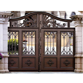 Metal sliding garden fence gate iron pipe gate grill for Main gate designs for farmhouse