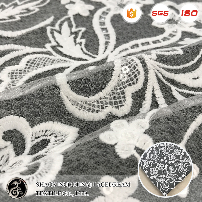 2017 New Fan Shaped African George Guipure Lace Fabric for Lady Dress