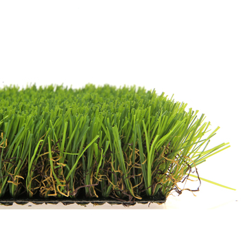 Green artificial grass with brown thacth synthetic turf for landscaping