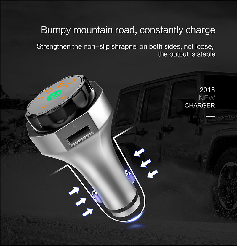 2018 new arrival bluetooth handsfree car kit fm transmitter usb car charger with safety hammer car mp3 player hot selling