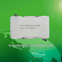 3.6v ni-cd battery packs C 2500mah/rechargeable nicd battery