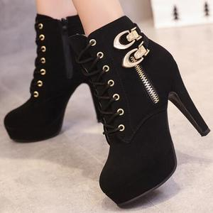 cz18084a Fashion ladies chunky high heel boots black women cross straps round toe boots women