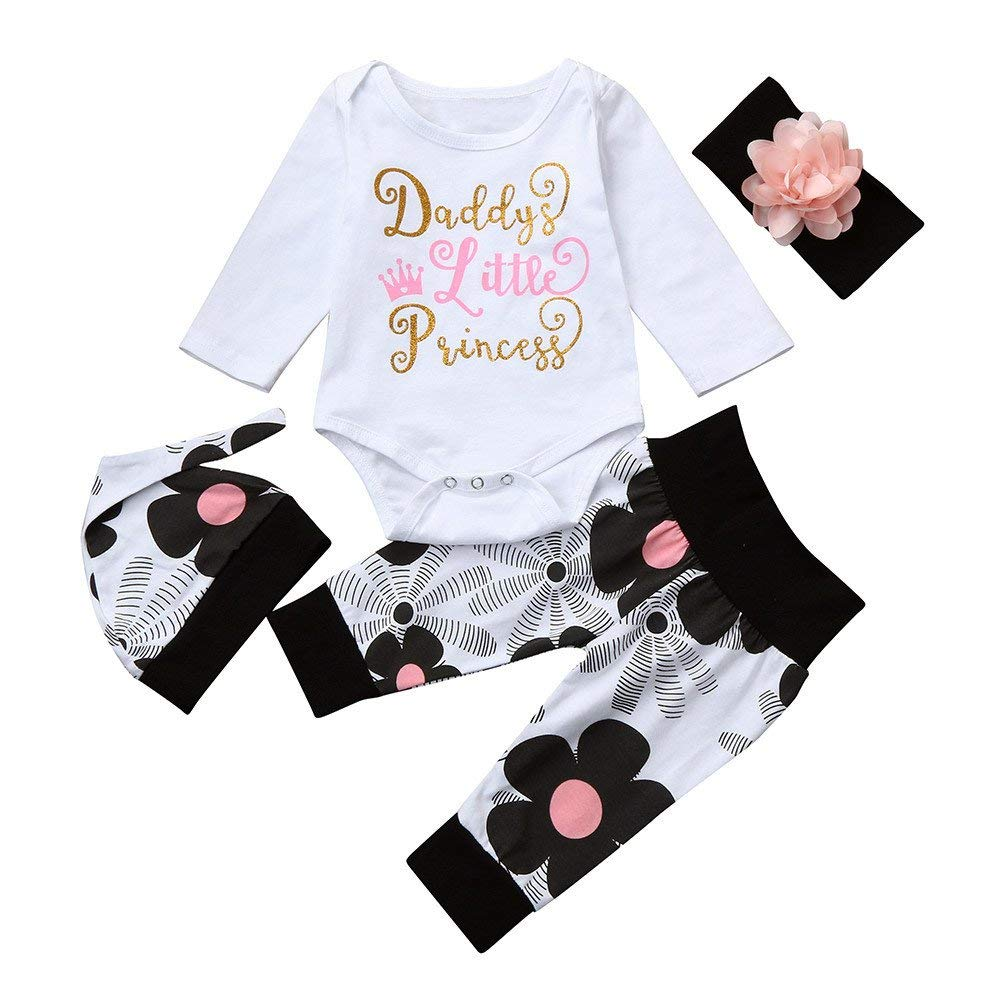 ❤️Mealeaf❤️ Baby Boys and Girls Clothes with Newborn Infant Baby Girl Letter Romper Tops+Floral Pants Hat 4Pcs Clothes Set (3-6 Months Old, White)
