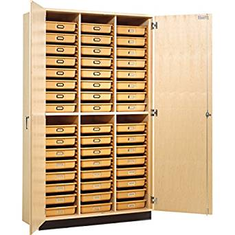 """Diversified Woodcrafts TTC-48 Tote Tray Cabinet with 3 Point Locking Handle with 48 Trays, 48"""" Width x 84"""" Height x 22"""" Depth"""