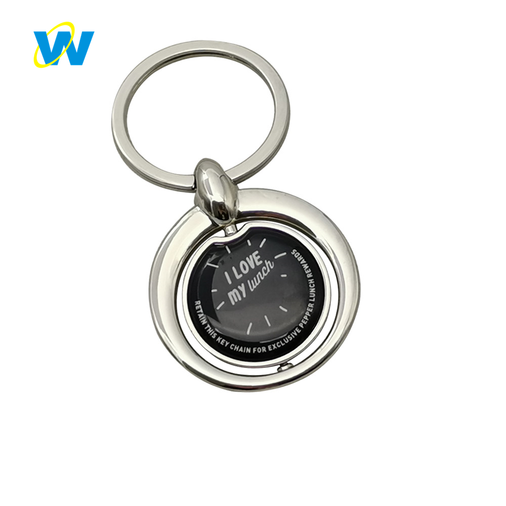 Spinning rotating custom logo round metal epoxy key chain keychain