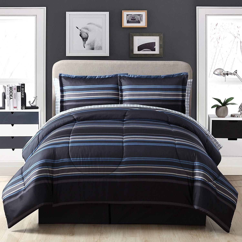 D&H 8 Piece Grey Black Blue Rugby Stripes Comforter King Set, Horizontal Striped Bedding Sports Themed Colors Nautical Cabana Stripe Line Pattern, Microfiber Polyester