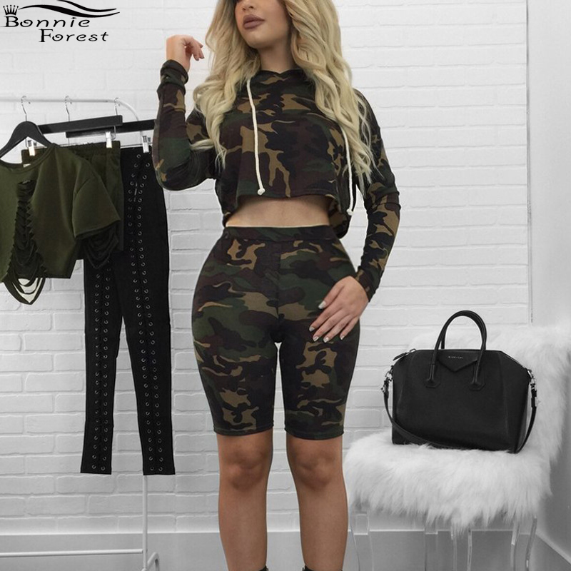 Bonnie Pieces Hoodie Sleeve Set From Two And Crop Sets Casual Womens Army Forest Fatigue Shorts Top 2019 Waxeer Bermuda Long Camouflage Outfits WDHEY29I