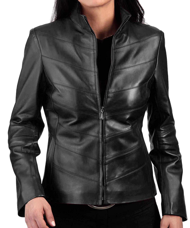 2be476b06c6 Get Quotations · Women s Leather Jacket Stylish Motorcycle Biker Genuine  Lambskin WJ 336 XS Black