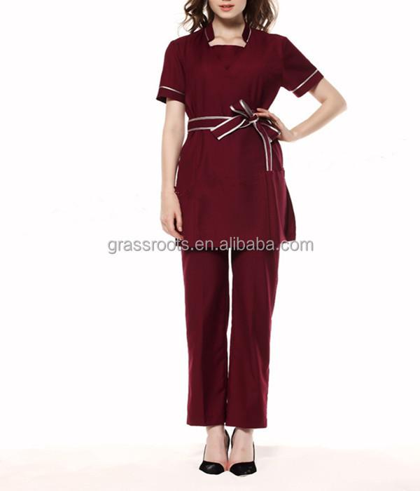 2015 100 cotton fashion design salon women spa beautician for Spa uniform cotton