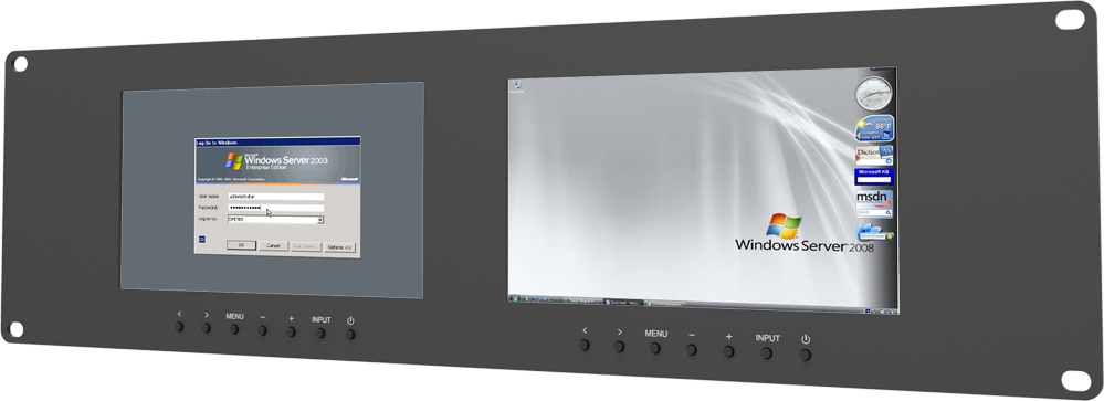 "Dual 7"" 3RU Rack Mount VGA Monitors with VGA, DVI, Video in & out"