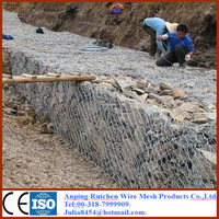 online shop alibaba Galvanized hexagonal woven wire mesh gabion price/ 3*1*1m double twist Gabion Box