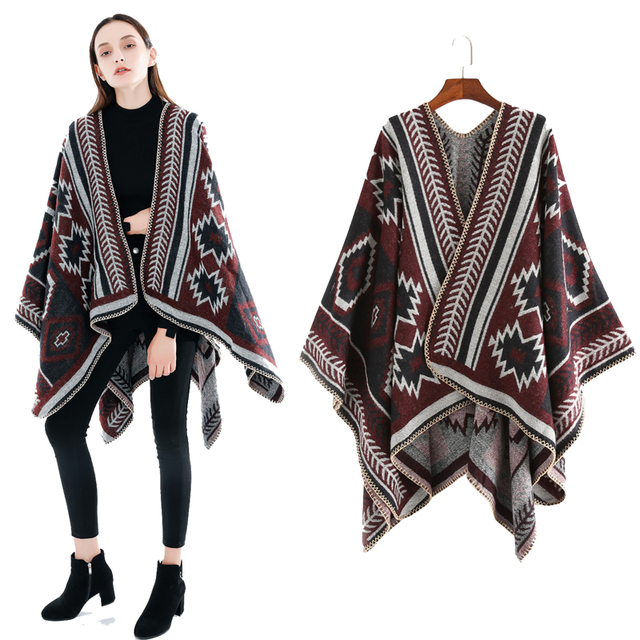 Wholesale 2020 hot sale cashmere wool poncho cape high quality ethnic style plus size thick winter women knitted poncho