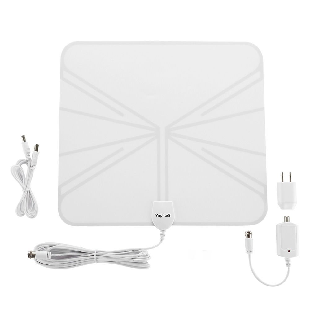 HDTV Indoor Antenna - YaphteS 50 Miles Digital TV Antenna with Detachable Amplifier Power Supply for the Highest Performance and 13ft Coax Cable - White