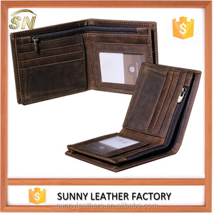 RFID Cowboy Genuine Natural Crazy Horse Leather Bifold Wallet with zipper pocket