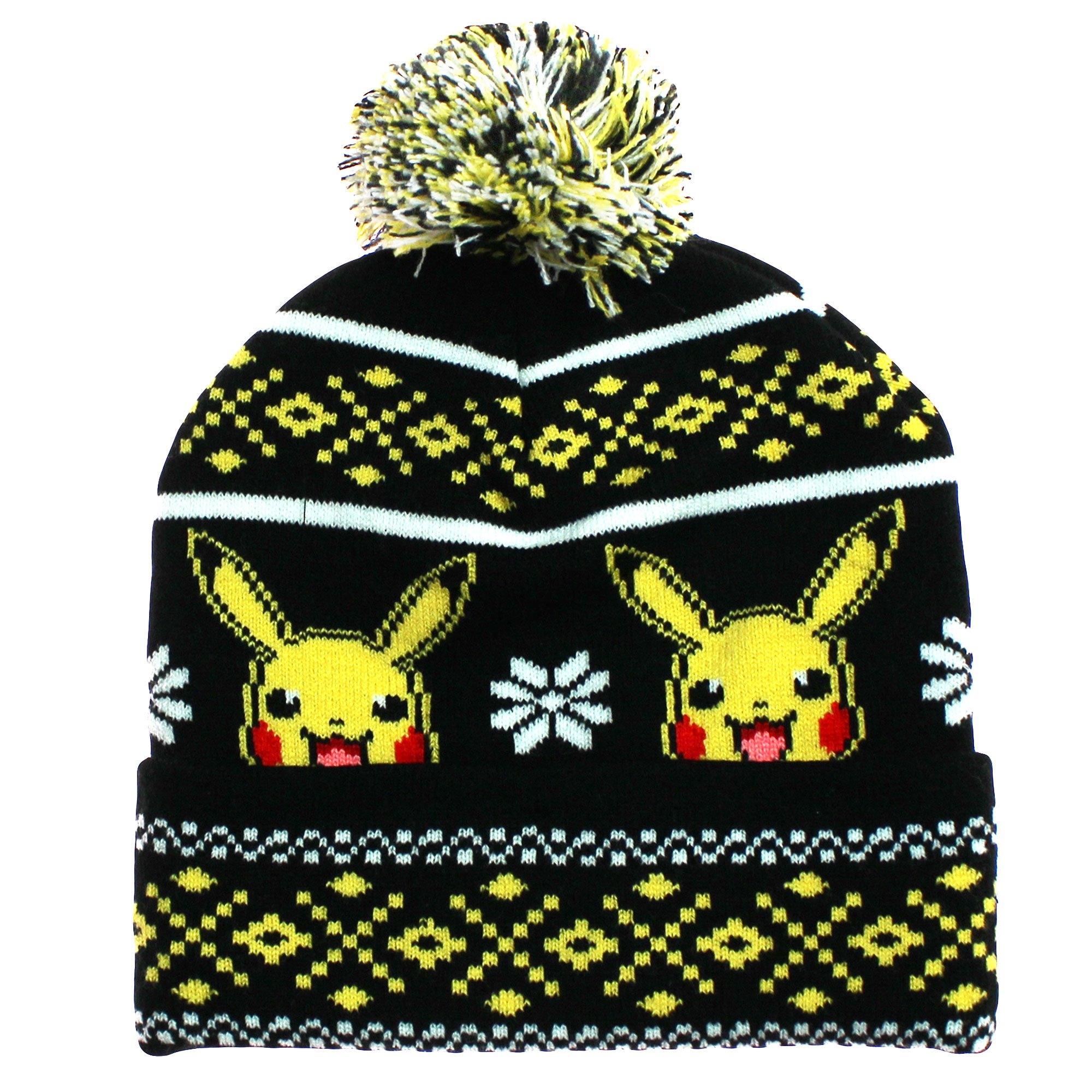 e7604a972f9 Get Quotations · bioWorld Pokemon Pikachu Winter Beanie Pom Pom Knit Hat  Black and Yellow Size 4-16