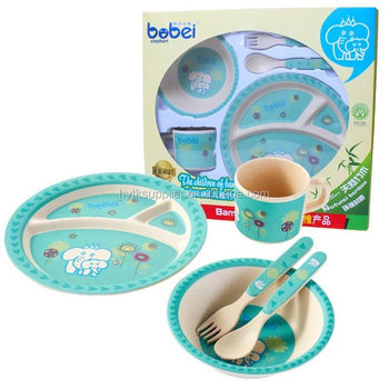 Wholesale biodegradable bamboo fiber baby gift tableware