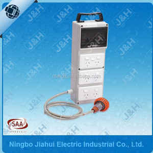 temporary mobile distribution board with Australian standard plug and sockets, plastic electrical portable distribution board