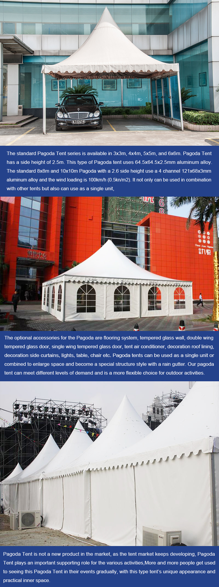COSCO UV Resistant Durable Aluminum PVC High Peak Marquee Party Tent Gazebo Modular Pinnacle Pagoda Tent