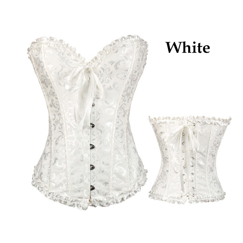 32dcd378d1 Sexy Corselet Women Plus size Satin Overbust Embroidered Corset Bustier Top  with G string Set Lingerie