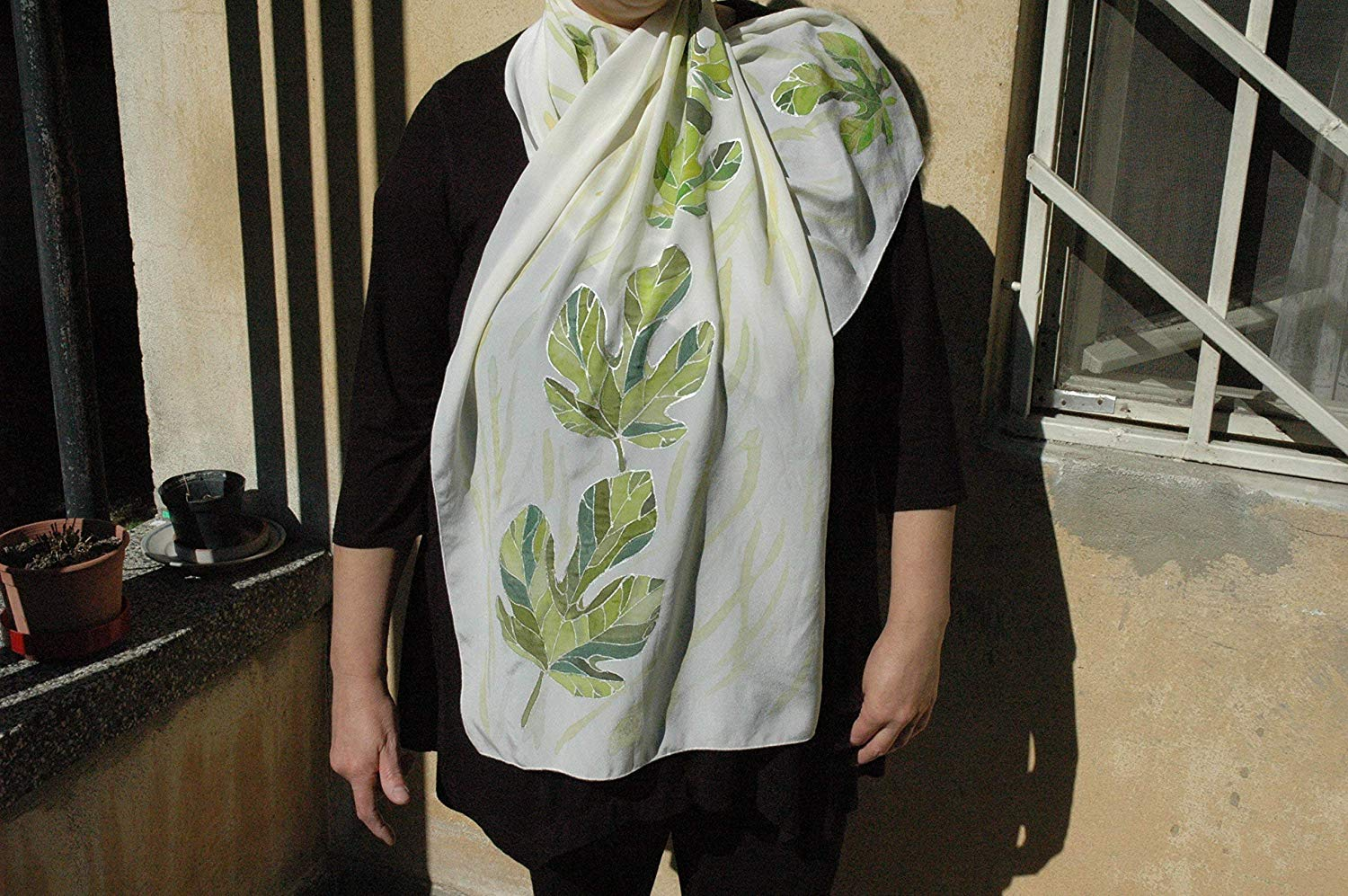 Sale!!!15% Off,Hand Painted Silk Scarf with Fig Leaves/Fig Tree/Scarf gift for wife/Leaf Art/Leaf Decor/Design scarf/Fig Leaves scarf Painted/Gift Woman/