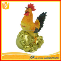 New year gift 2016 polyresin rooster statue chinese zodiac animal figurines