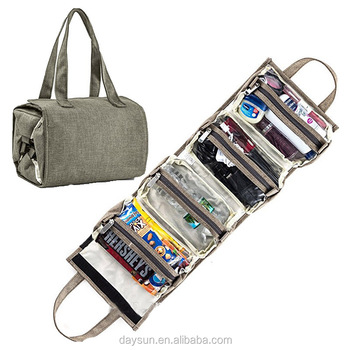 fdcf7d6a21 Four folding hanging toiletry bag cosmetic folded bag linen polyester