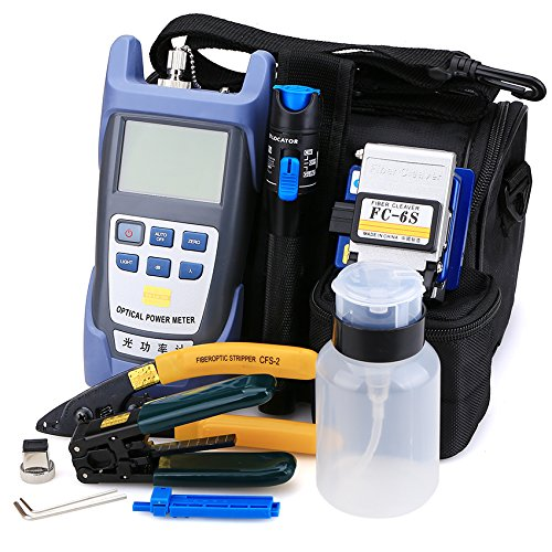 FTTH Fiber Optic Tool Kit 10 in 1 with New Fiber Optical Power Meter and 1mW Visual Fault Locator and Cable Cutter Stripper Tool FC-6S Fiber Cleave Multi-function Equipment Tool