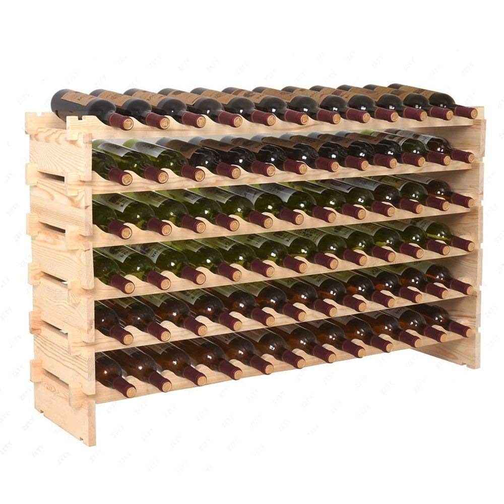 RX-789 Kitchen Decor Natural New 72 Display Shelves Wine Bottle Rack Wood Storage