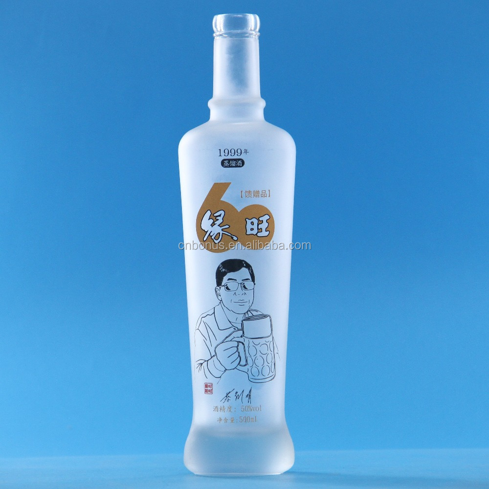 500ml frosted glass spirits wholesale rum bottle