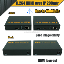 PWAY HDMI Ethernet and IR hdmi extender, H.264 encoded 200m over Cat6, 150m over Cat5e, 1080P, IR 38Khz, loop-out