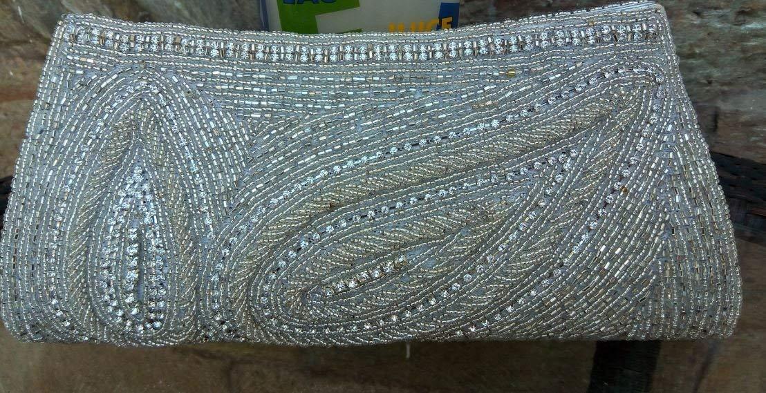 White Iridescent Indian Clutch Bag, Iridescent Handmade Bag, Wedding Clutch Bag,Iridescent Bridal Bag, White Clutch Bag,