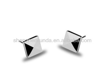 Square Shape 7 9 9mm Size Fashion Stud Earrings For Boys Women S Custom Design